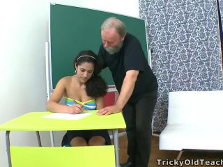 Hot student fucked doggie style by older teacher to pass class*
