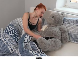 Tiny Ginger no Tits Teen Girl Sex with Teddy Bear Grey