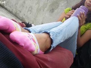 Handjob in public on lil feet n socks - Kinky Socks