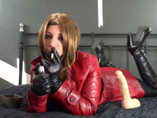 9708 - Leather Coat Red Trenchcoat Collar Worship