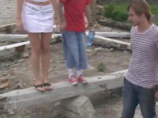 Katya - Russian Teen Outdoor Group Sex    russian   russian
