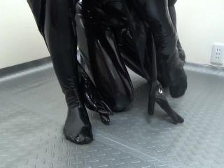 Japanese gas mask latex hood catsuit blowjob