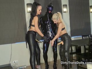 DirtyTransDolls - Pegged rubber doll showered with cum Part 1!!!