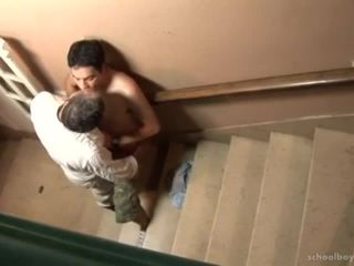 Older dad daddy kiss lick rim suck fuck boy steson stairs passion hot!