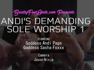 Lesbian Foot Worship – Bratty Foot Girls – Andi Page, Sasha Foxxx – Andi's Demanding Soles 1