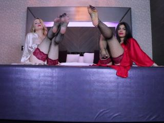 Cum to feet – Queen Regina, Russian Queen M – CEI and Fishnet Stockings - stockings - feet porn femdom mania