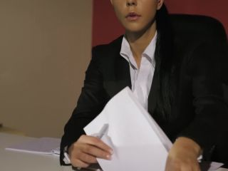 Laly - hot secretary does hot foot tease in dragon stockings