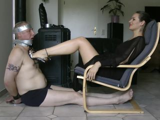 Online femdom video Lady Iveta - Foot Gagging Mouth Fuck