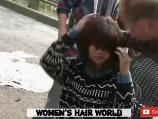 Headshave on the street with face shave