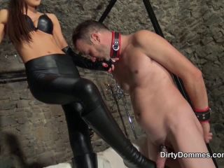 Miss Tina – Dirty Dommes – Eating cum of her leather ass – Tina Kay on handjob porn femdom hard caning