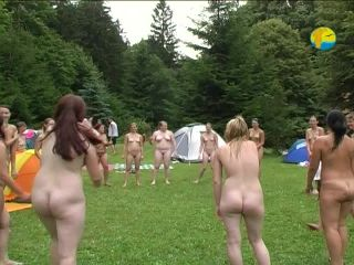 Family Pure Nudism Naturist Playing With a Ball 2