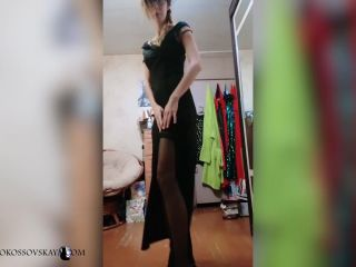 Cute Babe in Black Dress Sexy Dancing with Fan On High Heels