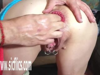 Fisting fetish porn, hand in pussy and anal hole, extreme prolapse