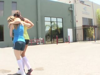 Lesbian basketball player soothes her injured stepsister with tender love