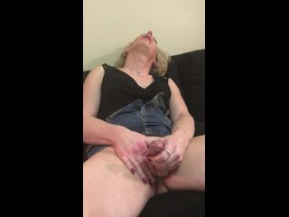 Tranny girl with big dick moaning and