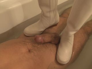 Bootjob in water, cum on boots