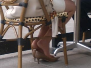Candid high heels iness lady shoeplay in pantyhose