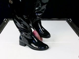 Ballting and cock balls crush in patent leather boots and socks cbt po ...