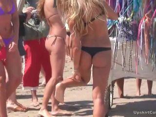 Chicks try on bikini panties