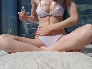 miss alice-94  oiled up sunbathing and flashing  miss alice-94
