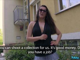 Sexy brunette milf fucks stranger outside for cash