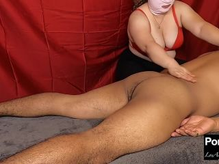 Big tits masse gives erotic oil massage with a cock sucking happy ending and slurps up cum load