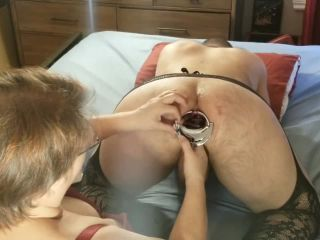 Speculum and hard fisting for stretched asshole of anal slut