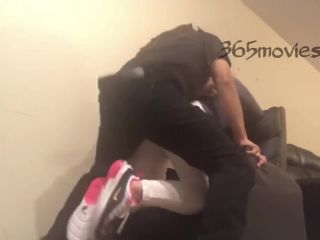Dread headed exotic dancer dry hump twerk leads to bare ass all out doggy in living room chair