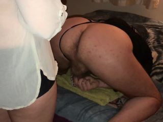 Dominant wife pegging bisexual cuckold band until he
