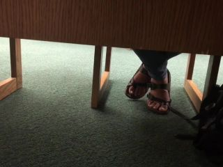 Candid library feet
