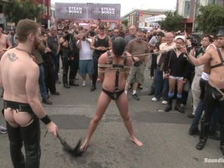 femdom insider Naked stud bound, beaten and humiliated at Dore Alley Street Fair, boundinpublic on blowjob porn