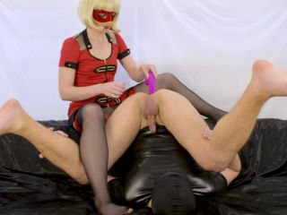 Blonde milf prostate milking with