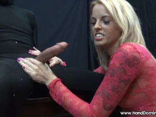 Beautiful Blonde SizE Queen forces SEMEN from captive cock