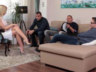 Busty Blonde Babe Enjoys Multidick Sucking!!!