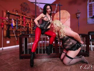 Clubdom: Alissa Avni And Raven Strapon Fucking   sissy   toys femdom ball whipping