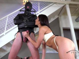 Emily Willis - Leather Gimp Feeder on fetish porn actress femdom