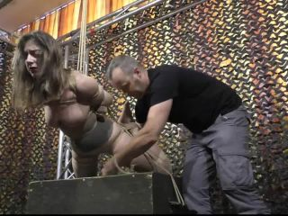 Pantyhose Encasement in a cruel Rope Suspension for Little Red Girl