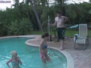 Bitchy babese their feet on pool boy's cock and face until he blows load*