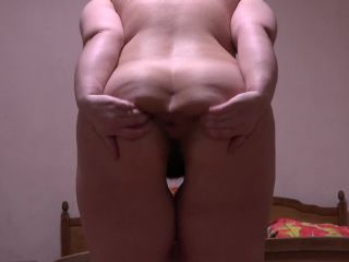 Fat Girl in Stockings and High Heels Masturbates her Hairy Pussy -