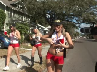 Gasparilla party girls flashing on the streets of tampa florida
