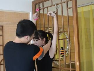 Chinese cute girl handcuffs and ball gag bondage