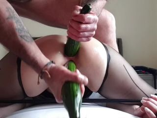 Drilled ass by a fist and cucumbers of naughty office milf