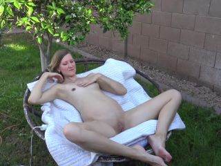 Pregnant girl masturbates outside with dildo and Hitachi moaning orgasm