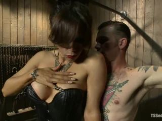 Sofia Sanders, Will Havoc - New Dom in Sexy Latex Whips out Her Cock and Fucks a Bound Slave Boy - TsSeduction, Kink (HD 2020)