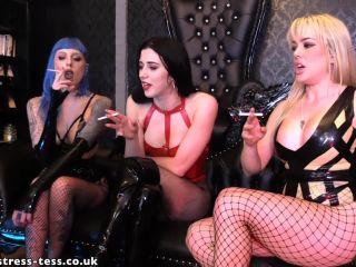 Human Ashtray – Mistress Tess UK Clip Store – Three Way Ashtray – Mistress Tess, Miss Bliss and Miss Karina | cigarette | fetish porn royal fetish