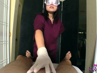 Dick play with wet latex gloves