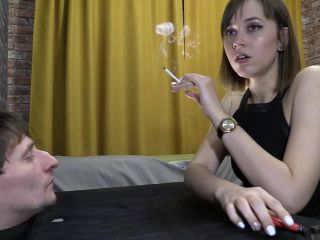 Beautiful Girls - Lady Spits And Shakes The Ashes On His Face (1080 HD) - Human Ashtray*