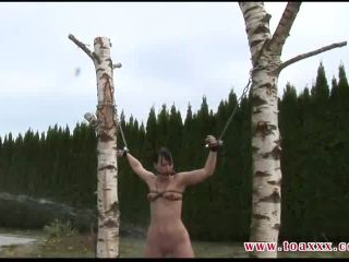 Outdoor Bullwhip Session for Yvette, femdom nurse on bdsm porn
