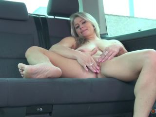 Blonde mom play with her monster boobs and masturbate