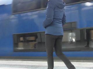 Cameltoe and dildo fucking on a public train